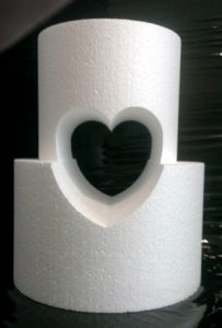 centre cut hole heart cake dummy